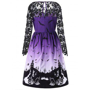 Halloween Plus Size Lace Panel Bat Robe à imprimé - multicolorcolore 2XL