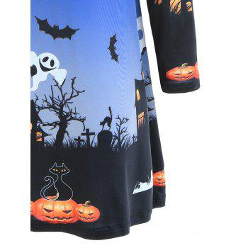 Pumpkin Bat Print Long Sleeve Halloween Swing Dress - L L