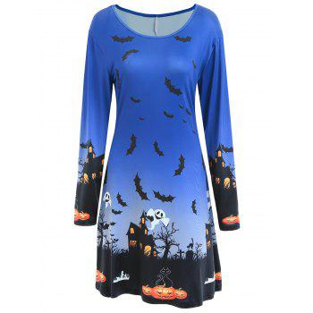 Pumpkin Bat Print Long Sleeve Halloween Swing Dress - BLUE S