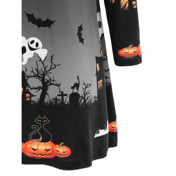 Pumpkin Bat Print Long Sleeve Halloween Swing Dress - DARK GREY M