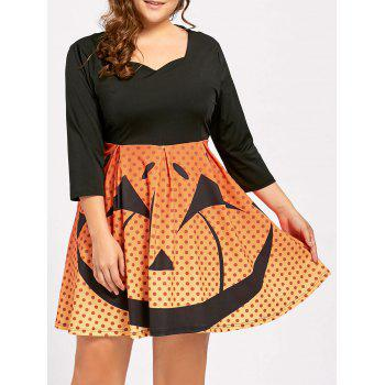 Plus Size Halloween Pumpkin Face Vintage Party Dress - BLACK XL