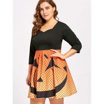 Plus Size Halloween Pumpkin Face Vintage Party Dress - XL XL