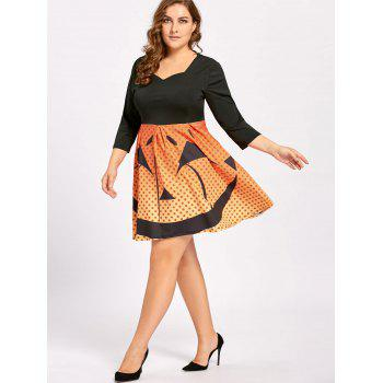 Plus Size Halloween Pumpkin Face Vintage Party Dress - 4XL 4XL
