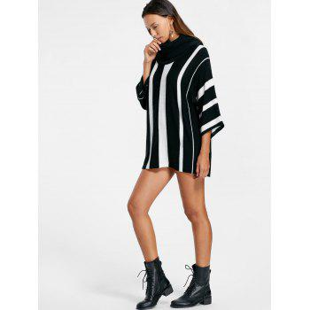Vertical Striped Turtleneck Sweater - S S