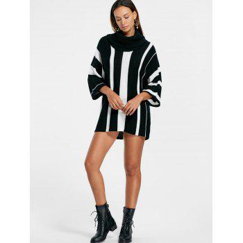 Vertical Striped Turtleneck Sweater - BLACK STRIPE M