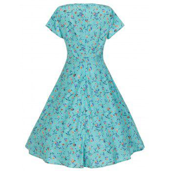 Vintage Floral Print Pockets Skater Dress - LIGHT GREEN M