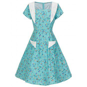 Vintage Floral Print Pockets Skater Dress - LIGHT GREEN L