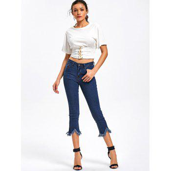 Cropped Frayed Hem Jeans - BLUE S