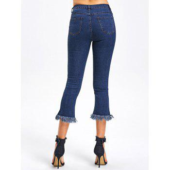Cropped Frayed Hem Jeans - BLUE M