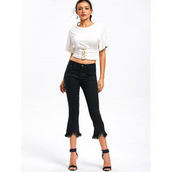 Cropped Frayed Hem Jeans - BLACK L