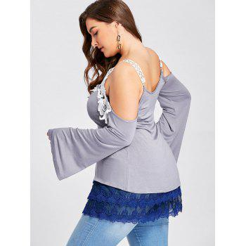 Plus Size Tiered Sheer Lace Extender Skirt - BLUE 3XL