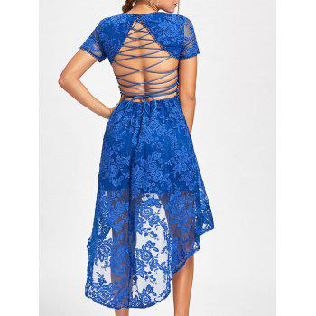 Back Tie Up Lace High Low Dress - BLUE XL