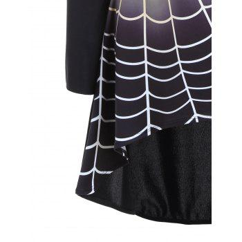 Bell Sleeve Spider Web Print Halloween T-shirt Dress - BLACK BLACK