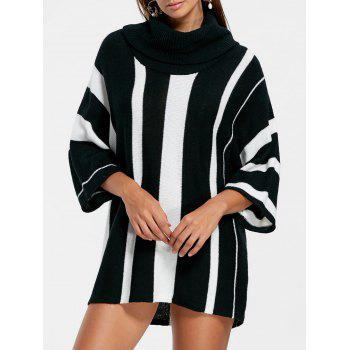 Vertical Striped Turtleneck Sweater - BLACK STRIPE BLACK STRIPE