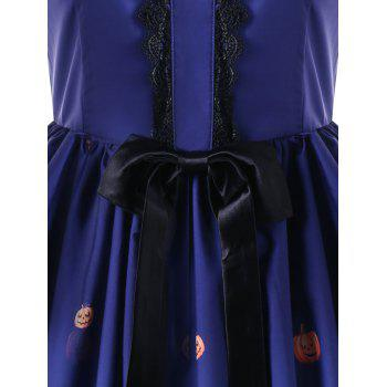 Halloween Bowknot Embellished 50s Swing Dress - BLUE XL