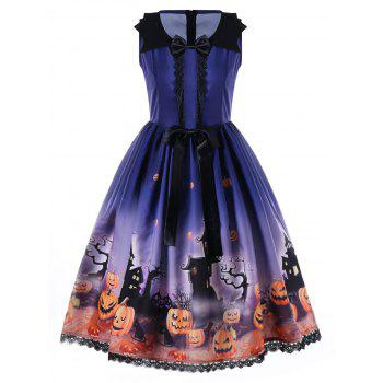 Halloween Bowknot Embellished 50s Swing Dress - BLUE BLUE