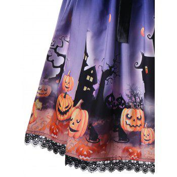 Halloween Bowknot Embellished 50s Swing Dress - BLUE 2XL