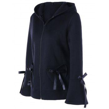 Lace-up Heart Pockets Zip Up Hooded Jacket - BLACK L