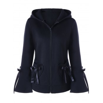 Lace-up Heart Pockets Zip Up Hooded Jacket - BLACK BLACK