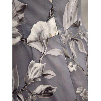 See-Through Floral Print Dress - LIGHT GRAY S