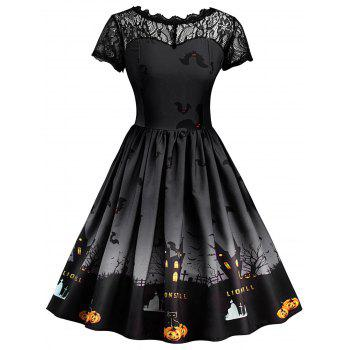 Halloween Vintage Lace Insert Pin Up Dress - DARK GREY DARK GREY