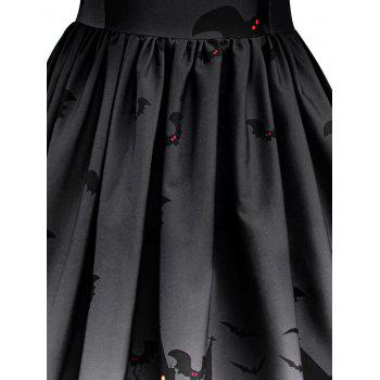 Halloween Vintage Lace Insert Pin Up Dress - DARK GREY L