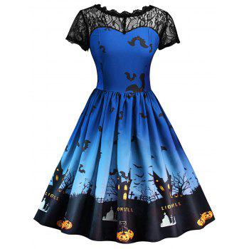 Halloween Vintage Lace Insert Pin Up Dress - ROYAL BLUE ROYAL BLUE
