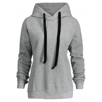 Side Zipper Plus Size Drawstring Hoodie - GRAY GRAY