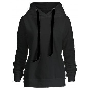 Side Zipper Plus Size Drawstring Hoodie - BLACK BLACK