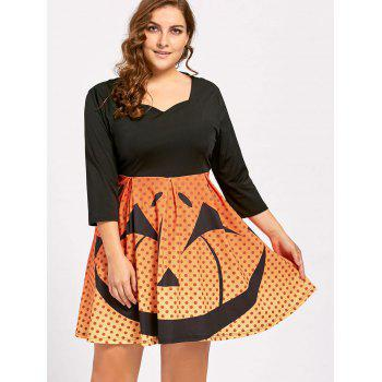 Plus Size Halloween Pumpkin Face Vintage Party Dress - BLACK BLACK