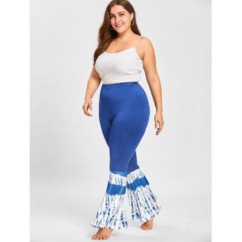 Tie Dye Plus Size Mermiad Flare Leggings - BLUE BLUE