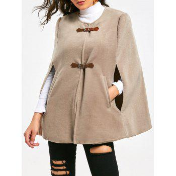 Faux Suede Cape Coat with Batwing Sleeve - APRICOT L
