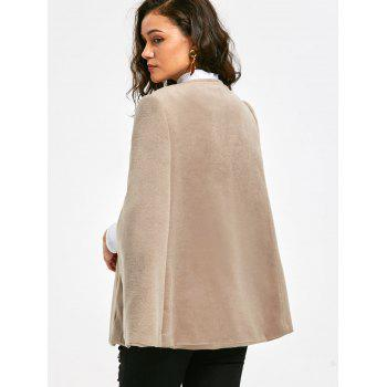 Faux Suede Cape Coat with Batwing Sleeve - APRICOT XL