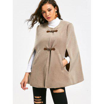 Faux Suede Cape Coat with Batwing Sleeve - APRICOT 2XL