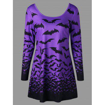 Halloween Spider Web Bat Lace Up Top - LIGHT PURPLE LIGHT PURPLE