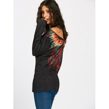 Long Sleeve Tribal Feathers Print T-shirt - BLACK BLACK
