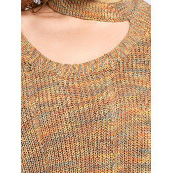 Plus Size Cut Out Neck Drop Shoulder Ripped Sweater - LIGHT COFFEE 2XL