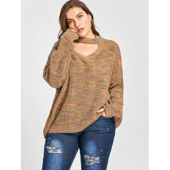 Plus Size Cut Out Neck Drop Shoulder Ripped Sweater - LIGHT COFFEE LIGHT COFFEE