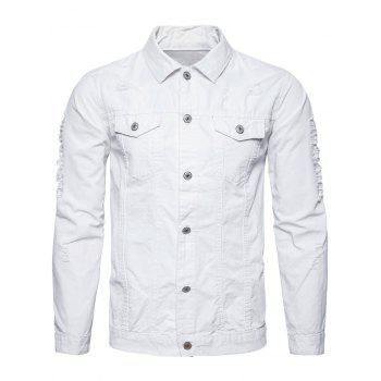 Distressed Button Up Cargo Jacket - WHITE XL
