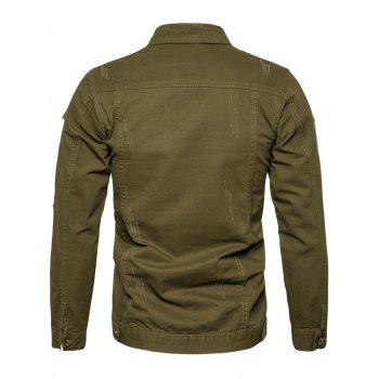 Distressed Button Up Cargo Jacket - ARMY GREEN M