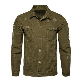 Distressed Button Up Cargo Jacket - ARMY GREEN L