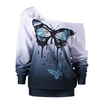 Plus Size Buttterfly Print Skew Neck Sweatshirt - WHITE WHITE