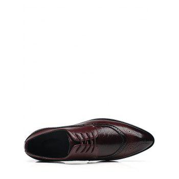 Pointed Toe Embossing Formal Shoes - BROWN 43
