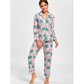 Pineapple Print Shirt Pajama Set - PINK PINK