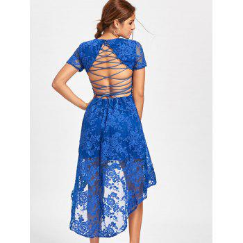 Back Tie Up Lace High Low Dress - BLUE BLUE