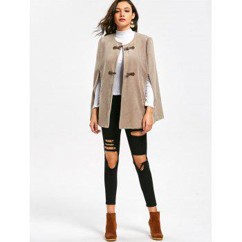 Faux Suede Cape Coat with Batwing Sleeve - APRICOT APRICOT
