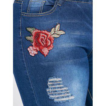 Plus Size Floral Patched Destroyed Wash Jeans - CERULEAN CERULEAN