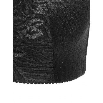 Padded Wirefree Floral Lace Panel Plus Size Bra - BLACK BLACK