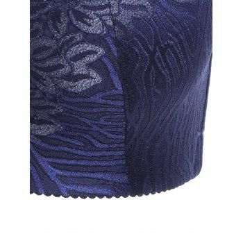 Padded Wirefree Floral Lace Panel Plus Size Bra - DEEP BLUE DEEP BLUE