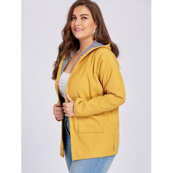 Plus Size Wool Blend Drop Shoulder Hooded Coat - EARTHY 4XL